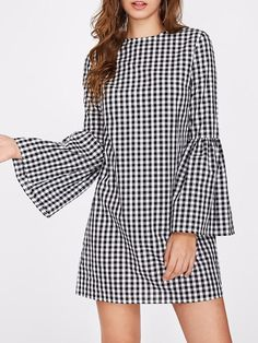 online shopping for Floerns Women's Bell Long Sleeve Shift Gingham Dress from top store. See new offer for Floerns Women's Bell Long Sleeve Shift Gingham Dress Casual Dresses For Women, Short Dresses, Top Mode, Vestido Casual, Gingham Dress, Plaid Dress, Ruffle Dress, Mode Hijab, Ladies Dress Design