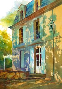 """""""Le Chateau"""" - Painting by Beth Verheyden.love the light pattern Watercolor Architecture, Watercolor Landscape, Watercolor Paintings, Watercolours, Monuments, Fashion Painting, Art Techniques, Watercolor Illustration, Painting Inspiration"""