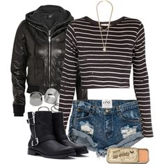 Bonnie inspired outfit with black hooded leather jacket by tvdstyleblog on Polyvore featuring Edith A. Miller, R13, One Teaspoon, Forever 21, Pieces and Givenchy