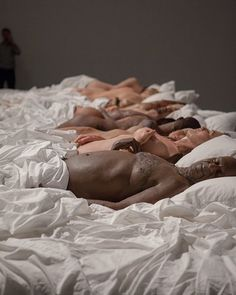 "Take a look at Kanye's foray into the art world with the ""Famous"" bed scene featuring several celebrities naked under the sheets with Kim and Kanye.  #yeezy #art #kardashian #kanye #artwork #exhibition #fashion #style #artist #sculpture #taylerswift #trump #jenner #nude #sleep #bed #instagood #instadaily #picoftheday #photooftheday #like #follow"