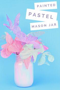 MARBLED PASTEL SPRING MASON JAR - Mad in Crafts