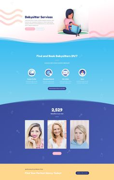 Babysitter Layout - 140 Free Divi Layouts. Images and graphics included. 10% Off!