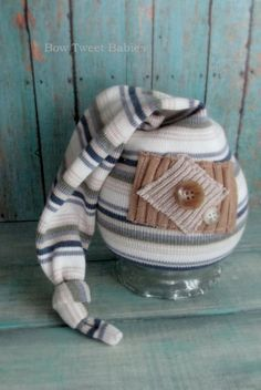 Cute hat for newborn photography, upcycled baby props,  newborn photography props, neutral boy prop hat