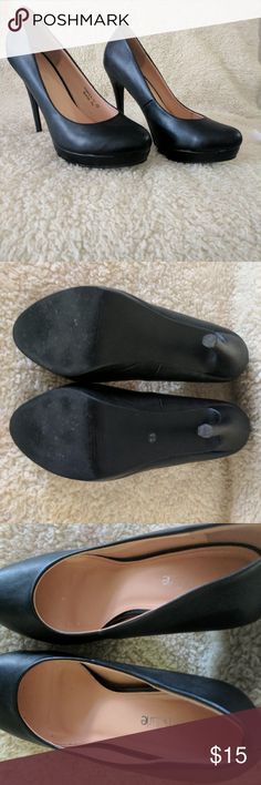 Black faux Leather 7.5 pumps Twice worn beautiful pair of black faux leather pumps 7.5. great with jeans, slacks, dresses. My photos are part of my description, please take your time reviewing them, and feel free to ask any questions. I will try to reply same day :) Thank you!! Shoes Heels