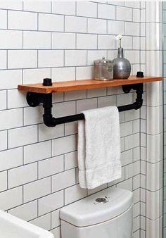 Industrial towel rack shelf  Rustic Bathroom Accessory Black Iron Pipe wall hanging industrial decor bathroom decor home