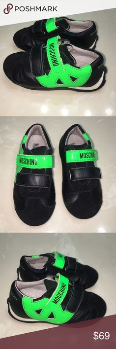 Auth Baby boy Moschino tennis shoes sneakers sz 5 Authentic Baby boy Moschino leather tennis shoes sneakers sz 5 very good condition light wear light scuffs Moschino Shoes Sneakers