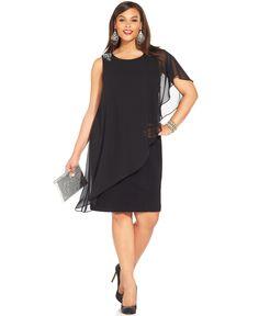 cef219ad5 Betsy   Adam Plus Size One-Shoulder Chiffon Overlay Dress   Reviews -  Dresses - Women - Macy s. Tallas GrandesVestidos ...