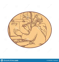 Drawing sketch style illustration of a monastic scribe or medieval monk writing illuminated manuscript inside European monastery or scriptorium set inside oval on isolated white background in color Drawing Sketches, Drawings, Illuminated Manuscript, Printing Process, Medieval, Vintage World Maps, Religion, Gallery Wall, Scribe