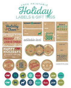 This set of Holiday labels and tags are designed in a Pacific Northwest style. These tags and labels are ready for you to personalize and print.