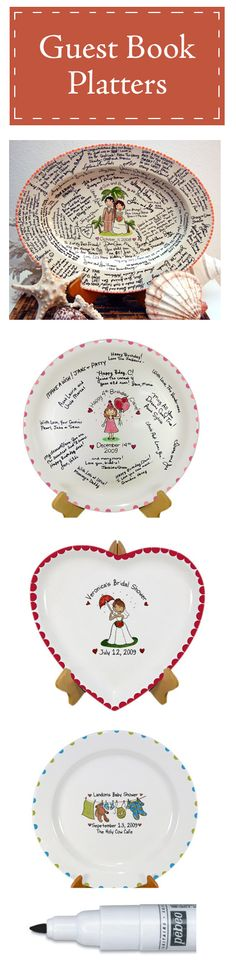 Handpainted Ceramic Signature Guestbook Plates Platters (I LOVE this idea! I collect platters...lol)
