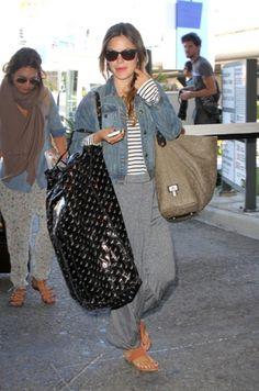 grey maxi, striped top, jean jacket