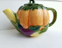 Adorable pumpkin cornucopia teapot. Check out all the details! Smoke free environment. Only flaw is one tiny paint fleck on backside. | eBay!
