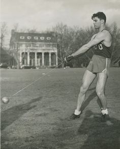 Olympics 1952: 1952 Olympian Martin Engel (STEINHARDT '54), practicing the hammer throw at the University Heights campus. Engel holds the NY...