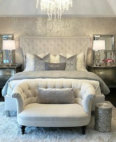 Modern Bedroom Ideas 40 brillante Schlafzimmer-Design-Ideen 5 A Quick Guide to Home Mailboxes Articl Dream Rooms, Dream Bedroom, Home Decor Bedroom, Modern Bedroom, Bedroom Ideas, Contemporary Bedroom, Master Bedroom Furniture Ideas, Silver Bedroom Decor, French Bedroom Decor