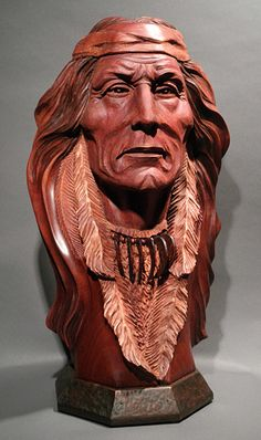 Stunning, Bill Churchill: Eyes of Honor, Native American Mahogany Wood Sculpture
