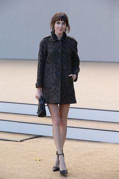Coat and heels.
