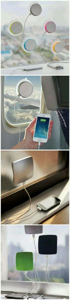 Stay prepared no matter where you're traveling with this window-mounted solar … - Techno Gadgets Accessoires Iphone, Solar Charger, Cool Inventions, Cool Tech, Diy Tech, Cool Things To Buy, Stuff To Buy, Just In Case, Geek Stuff