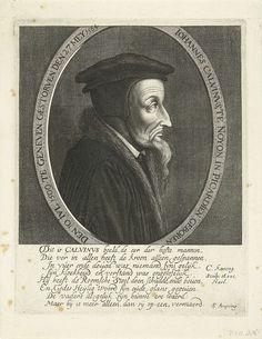 Cornelis Koning (?-1671) | Portret van Johannes Calvijn, Cornelis Koning (?-1671), c. 1608 - c. 1671 | Borstbeeld van Johannes Calvijn in ovaal met randschrift. Onder het portret een Nederlands vers op Calvijn door S. Ampzing.