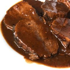Authentic German Sauerbraten A national dish of Germany, authentic Sauerbraten is marinated, cooked and served with a delicioiusly rich and sweet-sour gravy. Polish Recipes, Meat Recipes, Cooking Recipes, Polish Food, Recipies, Cooking Ingredients, Entree Recipes, Cooking Food, Recipes Dinner