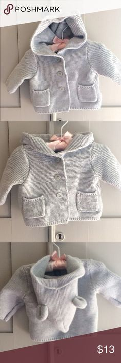 Baby Gap Bear Hoodie Sweater Gray Like new Bear cardigan sweater from Baby Gap in a soft unisex gray. Barely worn with no signs of wear. Super soft knit for baby. Perfect for your little one or as a gift. GAP Shirts & Tops Sweaters