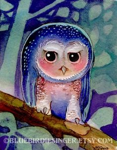 Purple Emo Owl Adorable Watercolor Print by BluebirdieBootique,