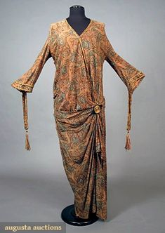 Deco Printed Knit Dress, Early 1920s, Augusta Auctions, May 2007 Vintage Clothing & Textile Auction, Lot 488