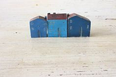 Set of 3 blue ceramic houses with red by VesnaGusmanClayArt,