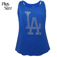 Los Angeles Dodgers Women's PLUS Size Crystal Embellished Tank  - MLB.com Shop  I like to get this one too <3 :)