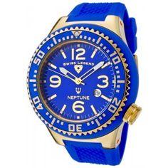 Reloj Swiss Legend Neptune SL-21818P-YG-03con esfera de acero inoxidable y pulsera de caucho color azul. #relojes #watches