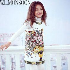 W. l. monsoon/платье принцессы Robe Enfant Цветочный принт маленьких Обувь для девочек зимнее платье Детская 2017 брендовая одежда детские рождественские платья