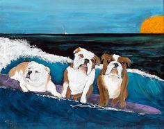English Bulldog Art Painting Signed Original by dogwagart on Etsy