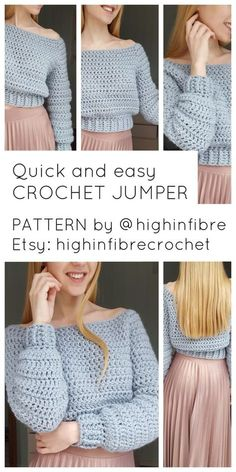 This is a fun, quick and easy crochet project for all levels! And, you end up wi. This is a fun, quick and easy crochet project for all levels! And, you end up with this cute and cozy jumper! Find the pattern in my Etsy shop: highin. Crochet Jumper Pattern, Jumper Patterns, Crochet Patterns, Easy Patterns, Sewing Patterns, Top Pattern, Simple Knitting Patterns, Afghan Patterns, Easy Crochet Projects