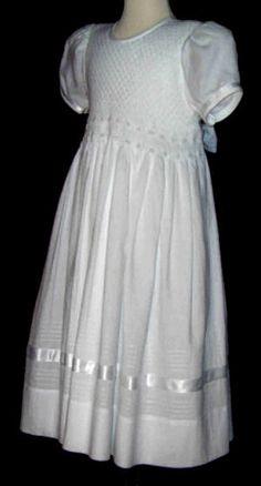 White Smocked Flower Girl Dress --- something like this could work ...