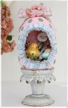 Easter egg decor with handmade clay bird by Linda Albrecht