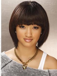Sleek Smooth Hairstyle with Thick Bangs