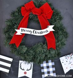 Fun black and white Christmas printables with red accents. Adorable holiday bunting with buffalo check, confetti, stripes & antlers and a Merry Christmas ribbon banner.