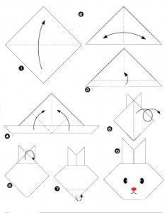 un origami facile pour réaliser un lapin, pour les petits enfants et les débutants en origami.