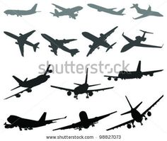 stock vector : Silhouettes of aircraft 3- vector