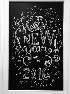 Happy New Year Chalkboard Blackboard Art, Kitchen Chalkboard, Chalkboard Decor, Chalkboard Drawings, Chalkboard Lettering, Chalkboard Designs, Christmas Chalkboard, Black Chalkboard, Happy New Year Signs