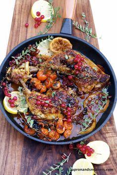 Braised Mediterranean Chicken with Red Currants & Passito di Pantelleria
