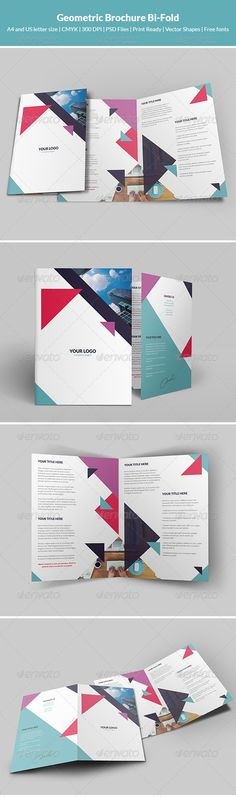 Buy Geometric Brochure Bi-Fold by artbart on GraphicRiver. Geometric Brochure Bi-Fold is a very interesting way of presenting the services it provides your company. Graphic Design Brochure, Brochure Layout, Graphic Design Typography, Brochure Template, Branding Design, Corporate Brochure, Leaflet Layout, Leaflet Design, Print Layout