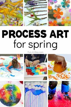 Spring is a perfect time for process art! Here are 15 spring process art ideas to inspire the kids' creativity. There are spring crafts and spring messy play ideas, too! Process Art Preschool, Preschool Art Activities, Spring Activities, Kindergarten Activities, Spring Painting, Painting For Kids, Art For Kids, Spring Arts And Crafts, Preschool Garden