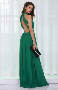 1c66d55edf9 Miss ord Missord Sexy Deep V Backless Sleeveless Cross Back Maxi Dress.  Front deep-V