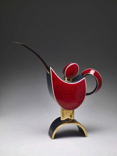 'Teapot–Red and Black' by Thai artist Porntip Sangvanich now residing in California Glazed porcelain