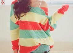 Rasta color summer sweater <3