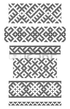 set of seamless geometrical borders, embroidery cross Stock Vector