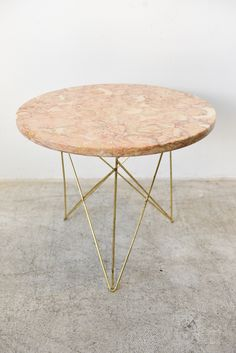 """Rene Brancusi Marble and Brass Side Table, circa 1955 Marble made in Italy Measures 18"""" diameter x 15.5"""" H"""