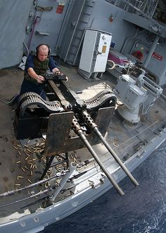 Twin M2HB .50 Caliber machine guns onboard the USS Normandy CG-60.