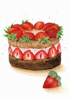 ORIGINAL Painting - Chocolate Strawberry Cake (Desserts Watercolors Wall Art, Still Life) A5