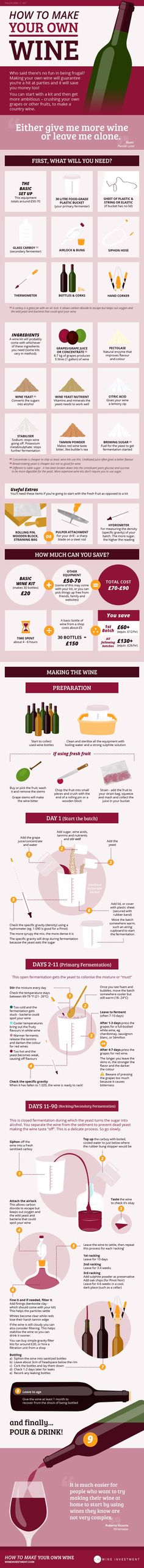 Save money and impress your friends by serving them homemade vino. * More info could be found at the image url. #WineCrafts
